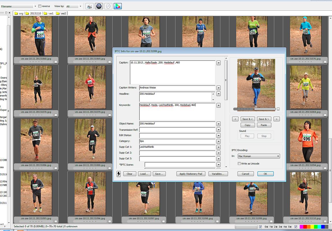 nach der Bearbeitung wird noch jedes Foto mit den Startnummern versehen .