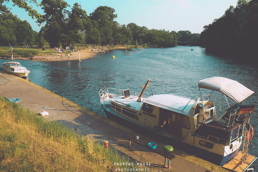 Blick vom Riveufer zum Saalestrand